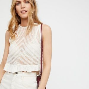 Free People She's a Doll Lace Crop Tank Top